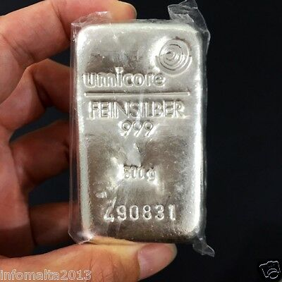 Umicore Half Kilo 500 gr Fine Silver Bullion LBMA Bar Worldwide Delivery