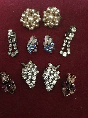 Superb Group of Five Vintage Pairs of Costume Earrings,Pearl,Paste,Colour Stones