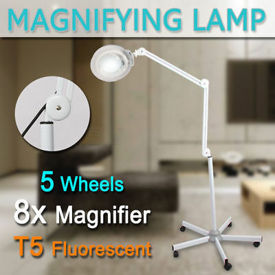 Magnifying Lamp Round Head Glass Lens Fluorescents Bulbs 8x Magnifier On Stand