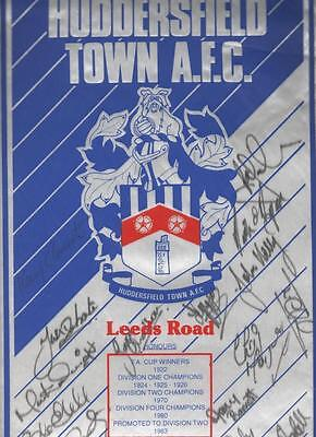 HUDDERSFIELD TOWN AFC Large Signed Pennant 1991/92 season FREE POST UK