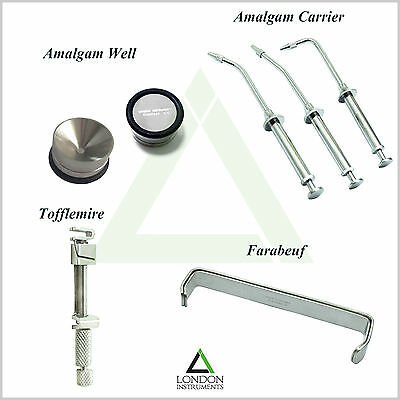 Amalgam Carrier Gun Syringe Bone Mixing Well Pot & Tofflimire Matrix Farabeuf