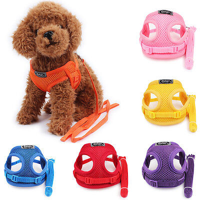 Small Dog Pet Solid Soft Adjustable Harness Puppy Walk Out Harness Vest Collar