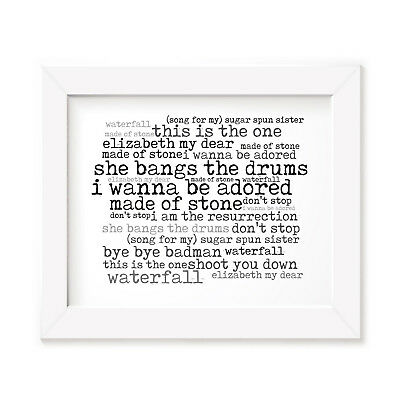 `56 Continental THE STONE ROSES Art Print Typography Lyrics Signed Wall Poster