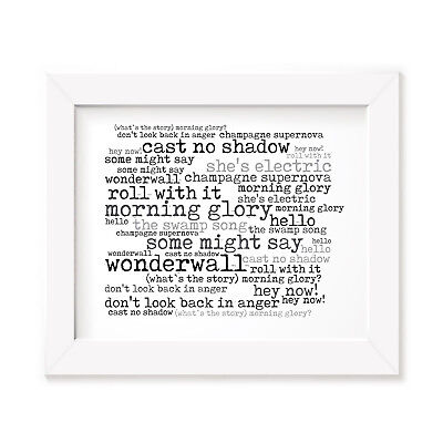 `56 Continental OASIS Art Print Typography Album Song Lyrics Signed Wall Poster