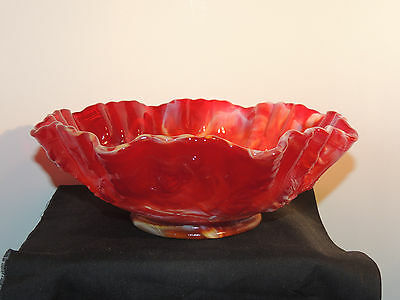 Imperial End of Day Slag Red Ruby Rose Vine IG  Dish 8.5x3 (9701)