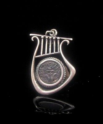 A Widows Mite Of Alexander Jannaeus Set In Silver Lyre Pendant