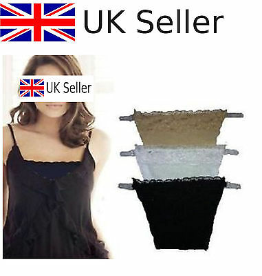 3pcs Clip on Camisoles Cami Secret Sexy Lace Set Panels Cleavage Control UK NEW@