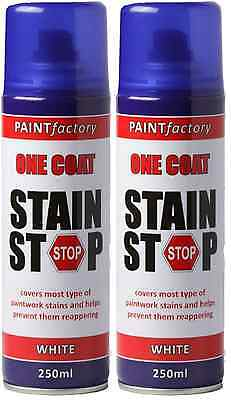 2x One Coat Stain Stop Spray White Covers Paint Stain Decorating Wall Ceiling