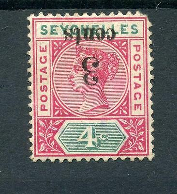 Seychelles 1893 3c on 4c Surch Inverted SG 15a MM - see desc