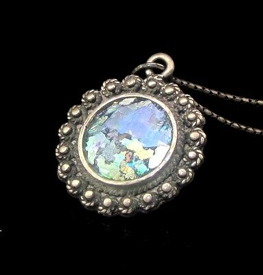 Ancient Roman Glass Silver Pendant.