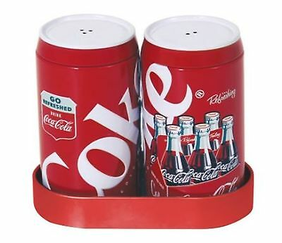 Coca-Cola Collectors Red and White Salt and Pepper Shakers with Caddy