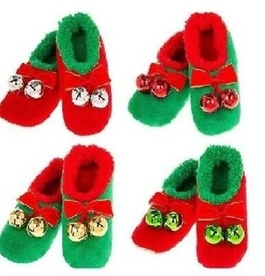 Ladies Snoozies Slippers Christmas Jingle Bell Red Gold Silver Green Ideal Gift