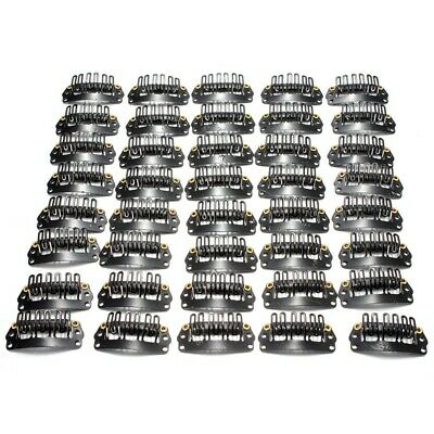 40pcs U-shaped clamp For Hair Extensions Wig Clips DIY Comb Black Frame  PK