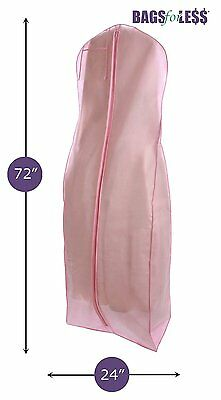 NEW Pink Wedding Gown Dress Travel Storage Garment Bag Soft Protection Long 72""