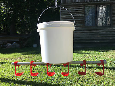 Bucket Nipple Drinker With Drip Cup For Poultry Chicken Goose Duck Turkey Bird