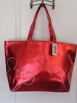 NWT Disney Mickey Mouse Large Tote Bag Shopper Red Metallic Faux Leather