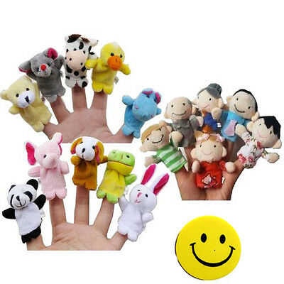 Sunny Story Time Finger Puppets - 10 pcs Velvet Animal and 6 pcs Soft Plush