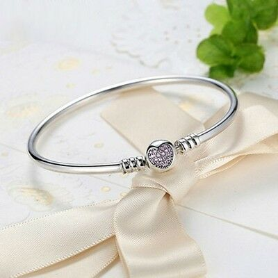 Stunning 21cm  925 Sterling Silver With Pave Heart Cubic Zirconia Charm Bracelet