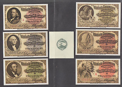 **Columbian Exposition, Lot of Six Unsused Tickets in Orig Wrapper, REPRINTS