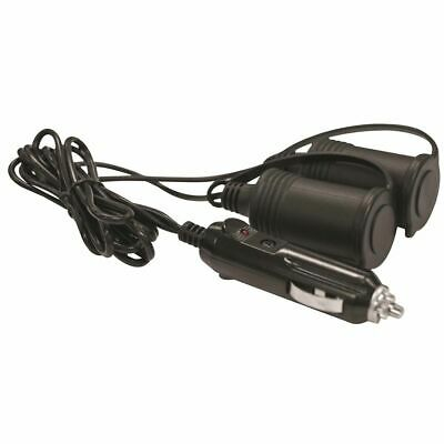 SCA 12V Extension Socket - Twin, With Plug, 1m Lead