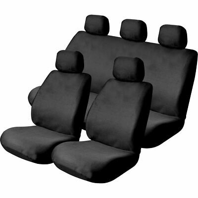 SCA Mesh Seat Cover Pack -  Black, Adjustable Headrests, Front Pair and Rear,...