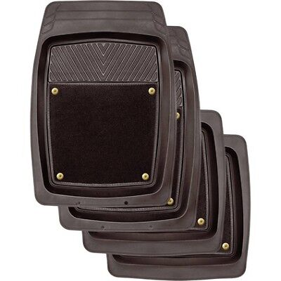 SCA Premium Combo Floor Mats - Black, Set of 4, Removable Carpet