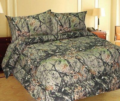 QUEEN SIZE TEAL CAMO BEDDING 6 PC CURTAINS COMFORTER ONLY CAMOUFLAGE BLUE GREEN