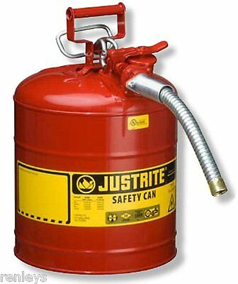 NEW 5 Gallon Fuel Safety Can Type II Flexible Hose Galvanized Steel Gas Oil, Red