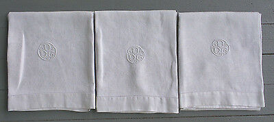 "3 Vintage Damask Linen Large Bath Towels White Monogram DDG Drawnwork 24"" x 41"""
