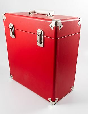 "12"" Retro Vinyl Record Case In Red, Holds 40-45 Records"