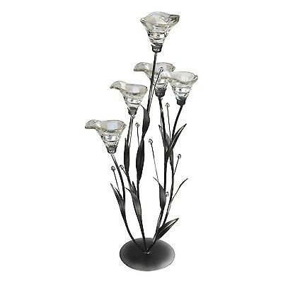 Clear Lily Tall Floor Standing Candle Holder