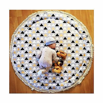 LIGHTLY QUILTED TRIANGLE BABY PLAY MAT WITH FRINGE NURSERY RUG Deer And Dot