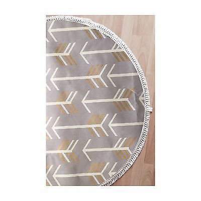 LIGHTLY QUILTED GREY ARROW BABY PLAY MAT WITH FRINGE NURSERY RUG Deer And Dot