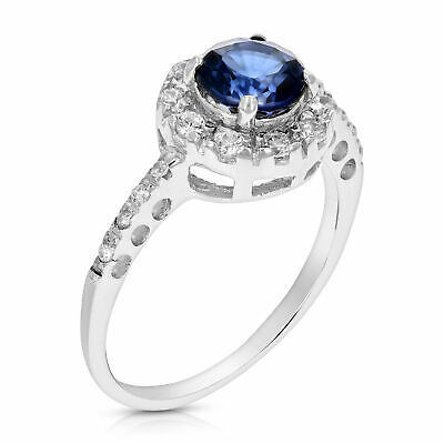 6 MM Round Created Blue Sapphire Ring .925 Sterling Silver