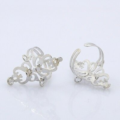 10pcs Adjustable Iron Loop Ring Bases Platinum Hole 3mm Jewelry Craft Finding