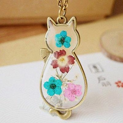 Cat Pendant Necklace Lady Chain Retro Real Dried Flower Girl Jewelry Gift UK