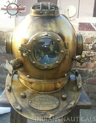 "Morse US Navy Mark V Diving Divers Helmet Solid Steel Full Size 18"" Vintage"