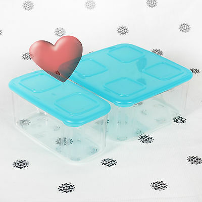 NEW Tupperware Clearmates set of 2 Large Square #2 and Rectangle Blue Seals