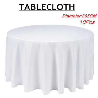 10X 305cm Tablecloth Round Table Cloth Wedding Party Banquet Event White AU