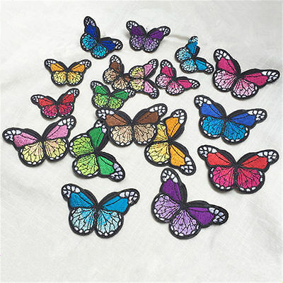 10PCS Embroidery Butterfly Sew Iron On Patch Badge Embroidered Dress Applique