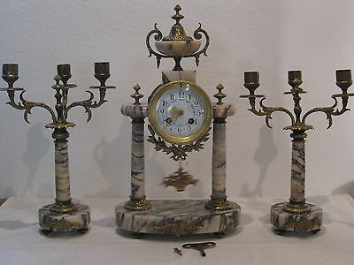 Antique French Solid Marble & Ormolu 8 Day Striking Portico Mantle Clock