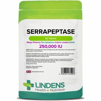 Lindens Serrapeptase High Potency 250,000IU High Strength Enzyme Enteric Coated