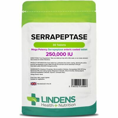 Serrapeptase TRIPLE PACK 90 tablets; 250,000IU high strength, enteric coated