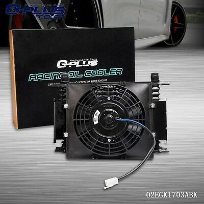 "UK 15 Row 10AN Universal Engine Transmission Oil Cooler+7"" Fixed Cooling Fan Kit"