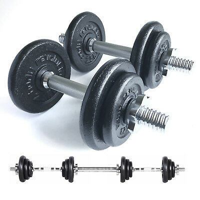20kg Cast Iron Dumbbell Set Free Weights Training Home Gym Biceps Triceps Bars