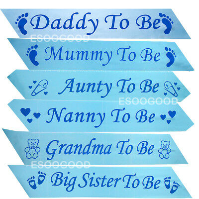 BLUE BABY SHOWER SASHES Mummy to be Nanny Aunty Big Sister Grandma Daddy To Be