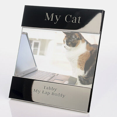 Engraved and Personalised My Cat Silver Plated Photo Frame - 6x4ins