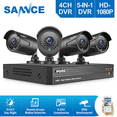 SANNCE 1080P 4CH Video DVR Night Vision Security Camera System APP Remote View