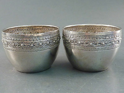 Pair Of Embossed Indian Silver Drinking Bowls