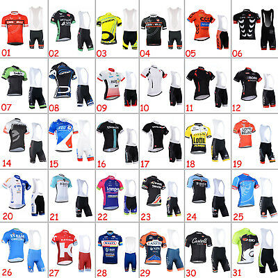 New Men Bike Team Cycling Shirt Straps Knicks Set Riding Jersey Bib Shorts Kits